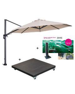 Hawaii zweefparasol Ø350 cm donker grijs/ecru incl. 90 kg black polish voet en parasolhoes