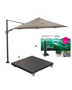 Hawaii zweefparasol Ø350 cm donker grijs/taupe incl. 90 kg black polish voet en parasolhoes