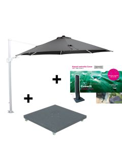 Hawaii zweefparasol Ø350 - wit - donker grijs met 90 kg parasolvoet en beschermhoes