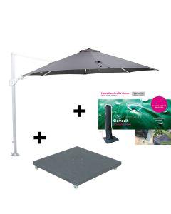 Hawaii zweefparasol Ø350 - wit - licht grijs met 90 kg parasolvoet en beschermhoes
