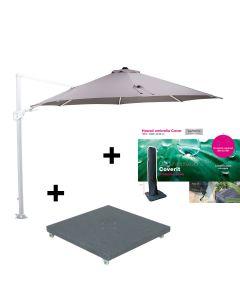 Hawaii Zweefparasol Ø350 - wit - zand met 90 kg parasolvoet en beschermhoes
