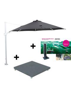 Hawaii Zweefparasol Ø350 - wit - zwart met 90 kg parasolvoet en beschermhoes